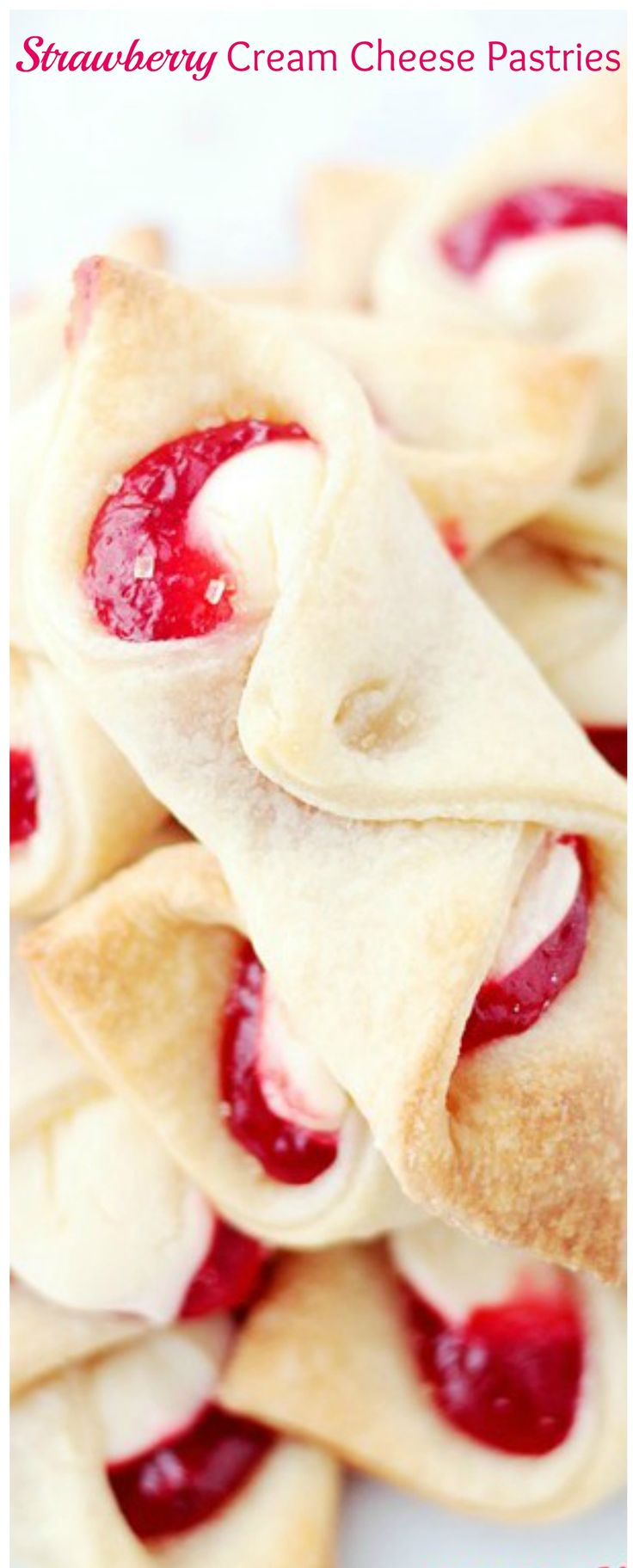 Soft, flaky and delicious cream cheese pastries filled with a sweet cream cheese mixture and strawberry jam.