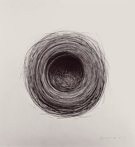 Bulbul Nest 99,charcoal on paper, byJonathan Delafield Cook.