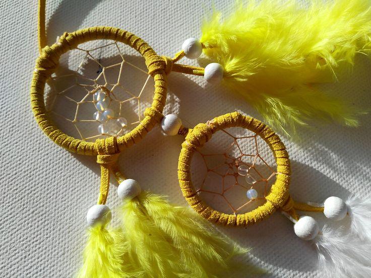Gelber kleiner Traumfänger mit Opalith Perlen -