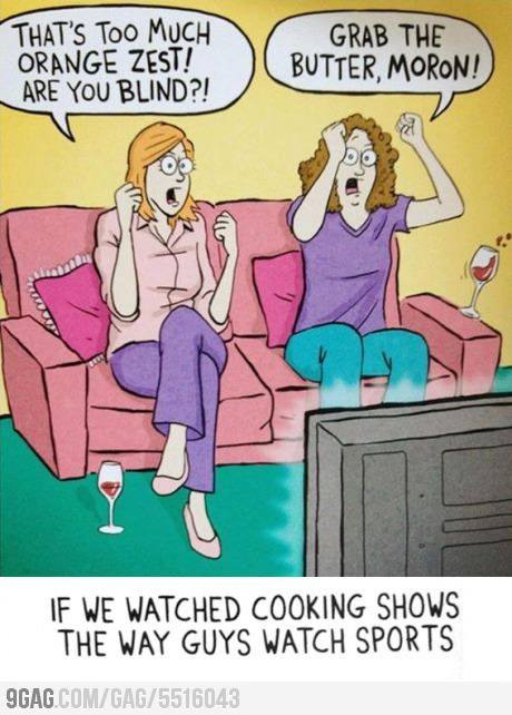 This is actually how my family and I watch cooking shows. As in I am slightly creeped out by the accuracy.