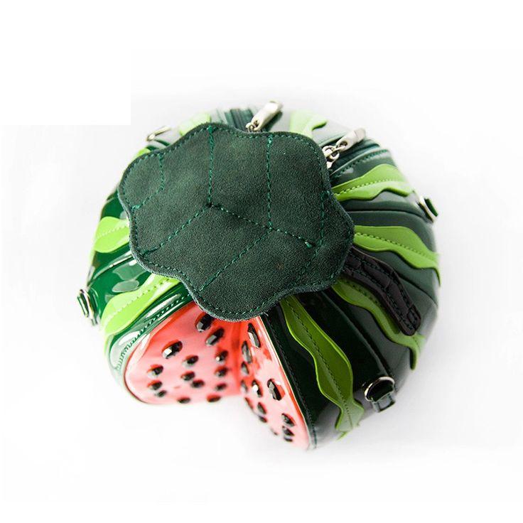 Creative Summer Women Funny Messenger Bags Watermelon Design Handbag With Green Leaf Delicate Circle Crossbody Bags