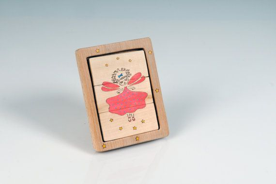 TwoSided Wooden Ballerina Puzzle  Standing Wooden by beigebois, €16.00