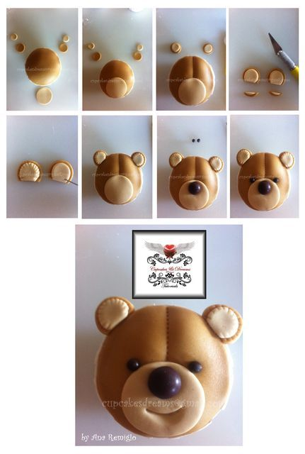 TEDDY BEAR CUPCAKES TUTORIAL - by AnaRemigio @ CakesDecor.com - cake decorating website