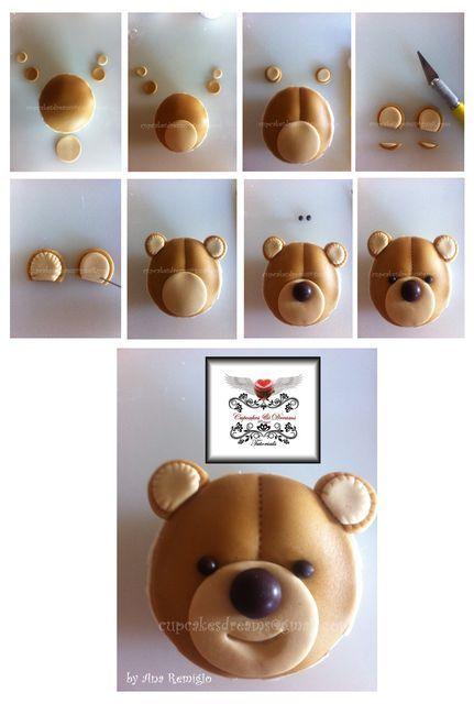 TEDDY BEAR CUPCAKES TUTORIAL - by AnaRemigio @ CakesDecor.com - cake decorating website