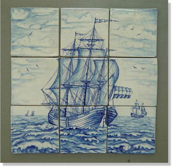 78 best images about art delft tile ships on pinterest for Delft tile mural