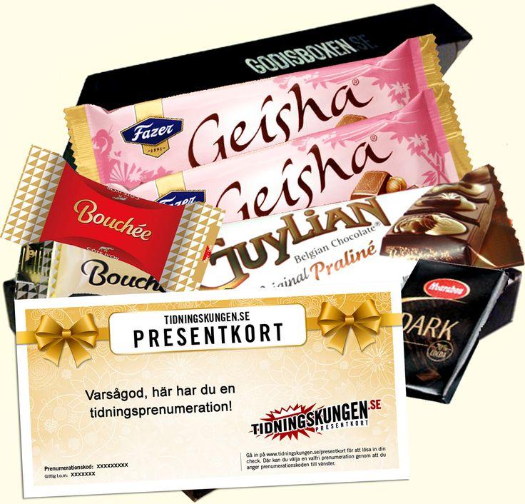 Present med tidningsprenumeration i kombination med smarrig choklad! Skickas direkt till din mottagares brevlåda. En god present som varar länge!