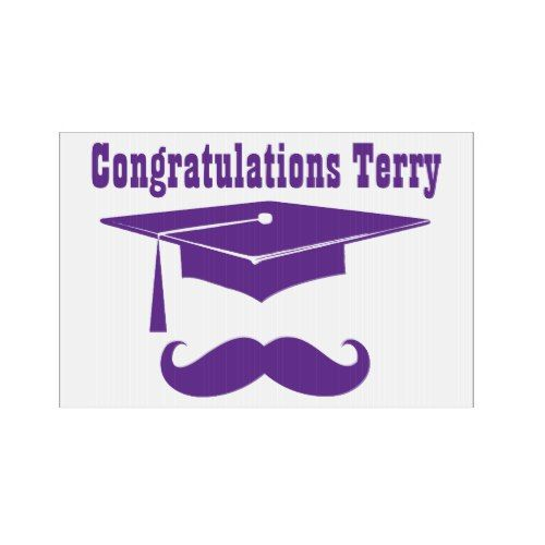 Graduation With Cap And Mustache - purple Lawn Sign