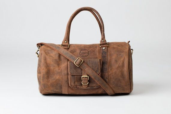 LEATHER DUFFLE BAG  Vintage style brown leather by HOUSEofLH