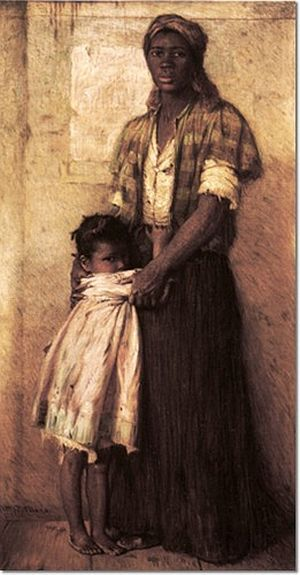 To The Highest Bidder, pre-Civil War scene depicting mother and daughter about to be separated in a slave auction.  African-American artist Harry Herman Roseland, 1867-1950