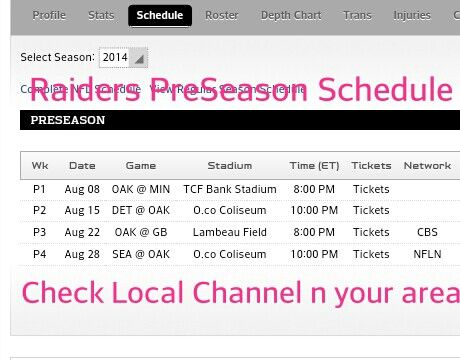 Oakland Raiders PreSeason Schedule for 2014