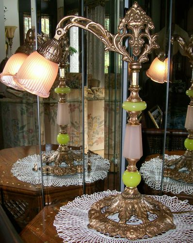 antique art deco houze vaseline chartreuse coralex pink glass bridge lamp - Houze Interior Design