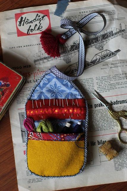 Swedish holder for needles, threads etc