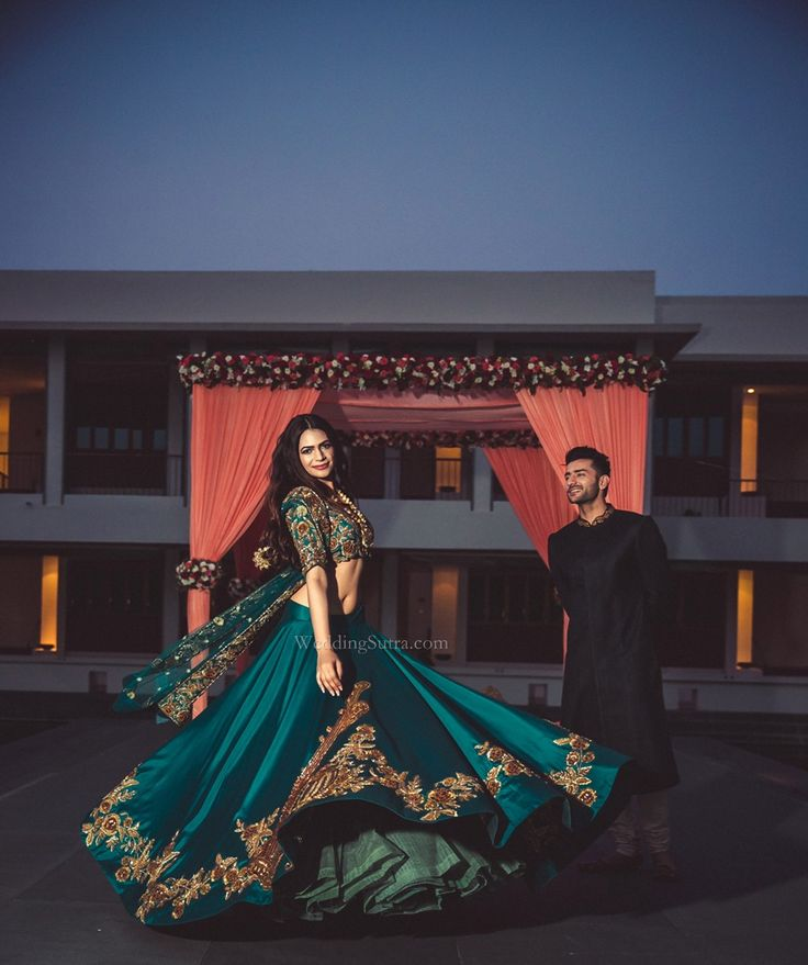 Teal Lehenga by Neeta Lulla for WeddingSutra Bridal Diaries. Photo Courtesy: Shades