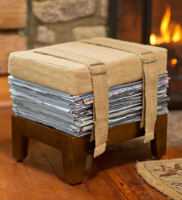Newspaper Storage Footstool is a seat, stool, kindling holder and recycling bin all in one - what a great idea!