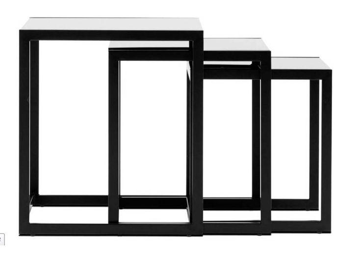 Nest of tables , 3 pcs,black glass/matt black lacquered