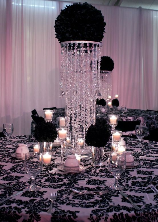 25 best ideas about black and white centerpieces on - Black silver and white party decorations ...