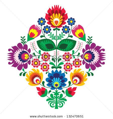 Folk embroidery with flowers - traditional polish pattern by RedKoala, via ShutterStock