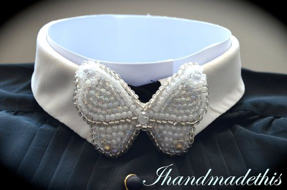 White beaded butterfly bow tie beads embroidery by Ihandmadethis