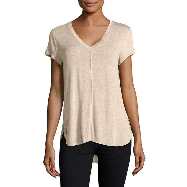 B Collection by Bobeau Women's V-Neck Knit Tee ($48) ❤ liked on Polyvore featuring tops, t-shirts, beige, short sleeve v neck t shirt, bobeau tops, knit top, short sleeve tops and knit tee