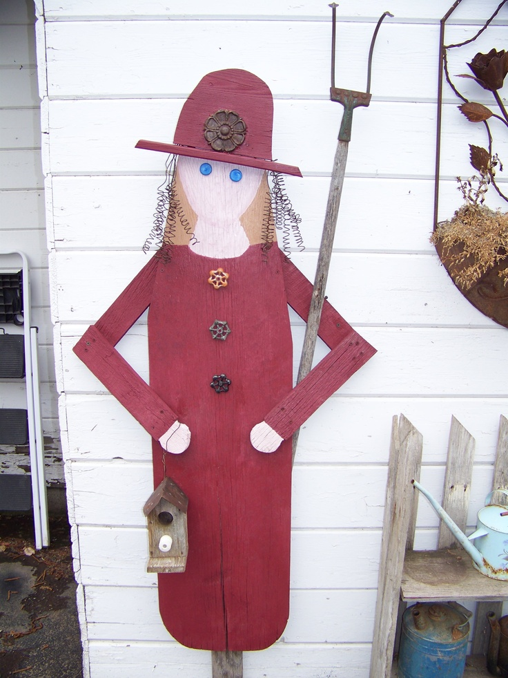 Garden Lady made from old wooden ironing board - made with love with my Aunt Ann