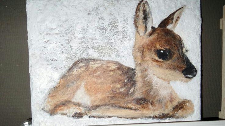 Hertje op hout geschilderd Door M. Voor. Opstal.