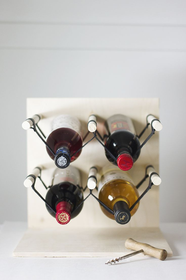 DIY: wood & leather wine rack