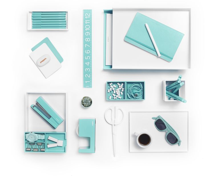 White with pops of Aqua is day at the beach! | Poppin | Desk Accessories | Cool Office Supplies #workhappy