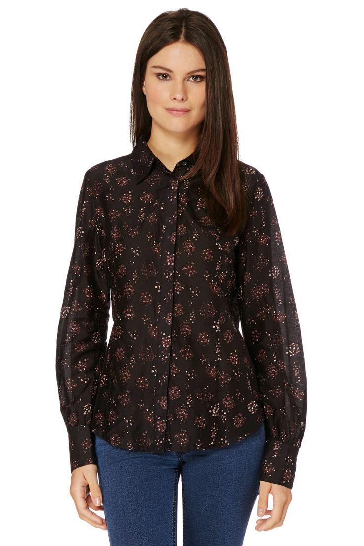 Venda Moda mulher boémia / 14265 / Et Compagnie / Camisas / Camisa Preto e Ameixa. 11,5€(110€)