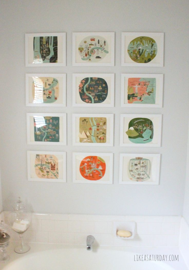 Master bath gallery wall -- using prints from a Rifle Paper Co. Calendar