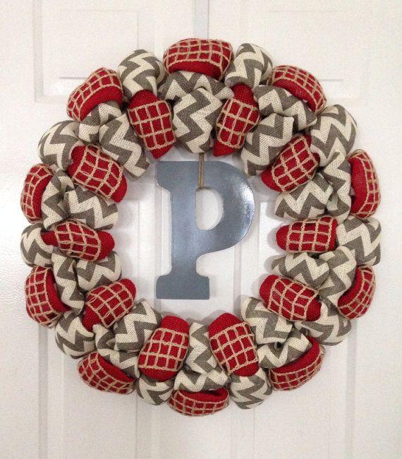 Large chevron burlap wreath Monogram Wreath by SimpleCountryBurlap, $75.00