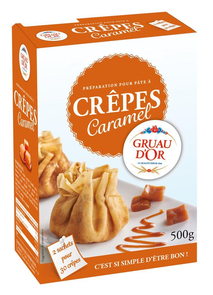 Des crêpes délicieusement gourmandes en un tour de poêle !  Il suffit d'ajouter 40 cl d'eau et 2 cuillères à soupe d'huile pour obtenir des crêpes gourmandes aux brisures de caramel !