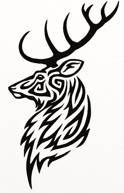 Tribal stag's head tattoo. Goldstein's employees all have a stag's head tattooed between their thumb and forefinger