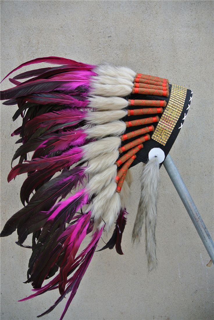Goedkope 21 inch hot pink chief indian veer hoofdtooi met gold hoofdband…
