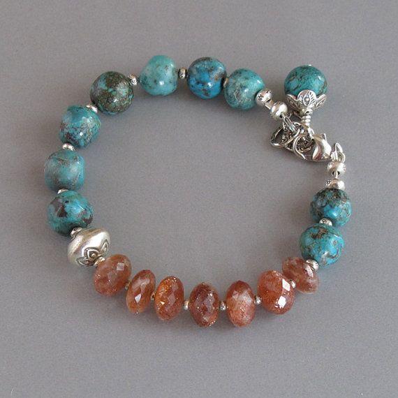 Sunstone Turquoise Bracelet Sterling Silver DJStrang Boho Cottage Chic…