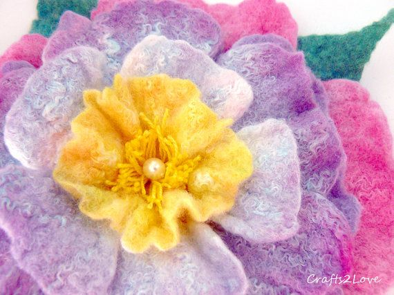 Wet felted brooch. Rose. Wet felted flower pin. by Crafts2Love, $37.00