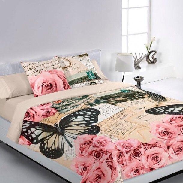 Funda Nórdica LAMPEDUSA Encama. Fundas Nórdicas 100% Algodón de estampación digital. Original diseño con una mariposas y rosas de diferentes colores sobre un fondo claro.