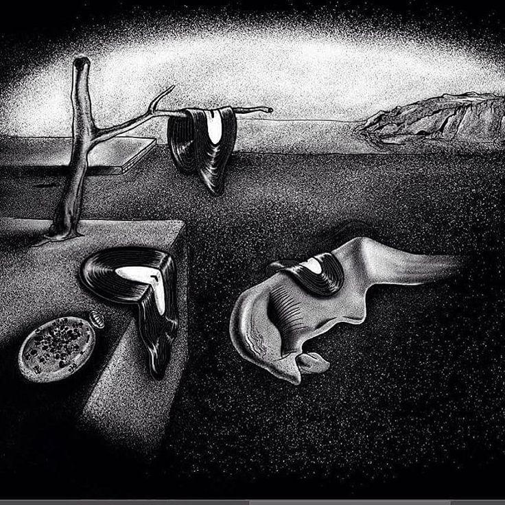Another one. #art #artwork #illustration #dali #salvadordali #record #music #vinyl #blackandwhite #design #graphicdesign
