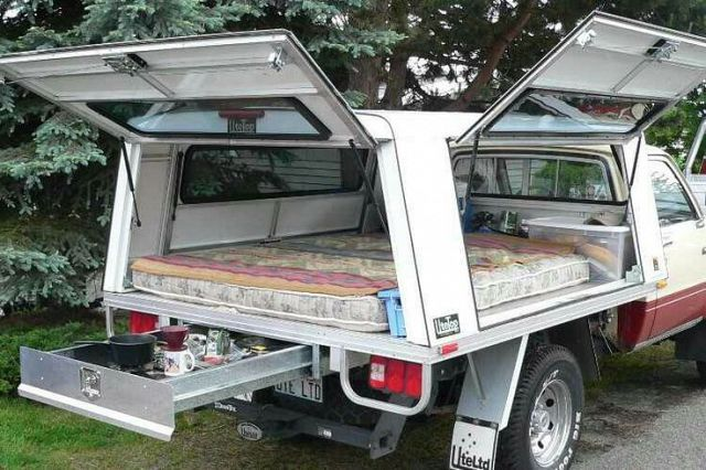 Bolt a pickup topper onto a flatbed and throw a mattress in. Love the slideout drawer under the bed - vehicles - Carzz