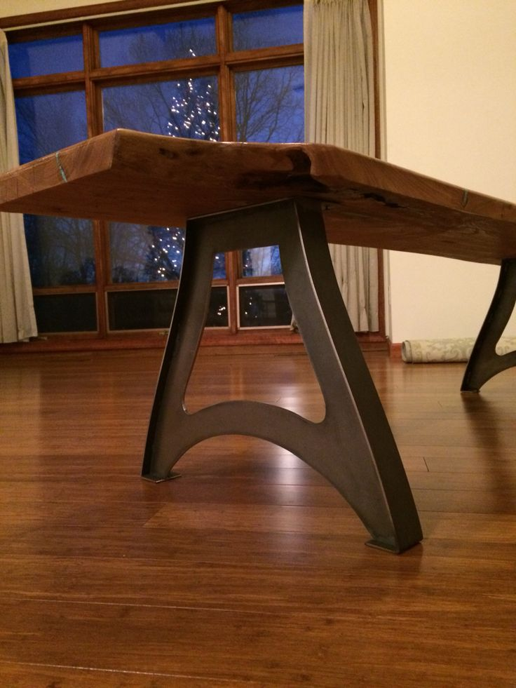 Beautiful Handcrafted Vintage Industrial Steampunk Metal Legs, Live Edge American Elm  Wood Slab Table Top.