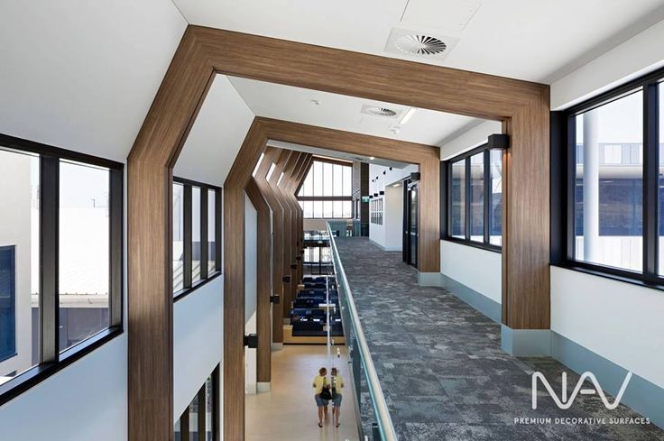 Designed by Conrad Gargett Architects, #Navurban Yarra Walnut was creatively used to form these decorative beams throughout the St Stephen's Hospital in Harvey Bay, QLD. Available in a variety of substrate thicknesses, Navurban is ideal for concealing ordinary structural beams in order to create a timber look, bringing warmth to the space.