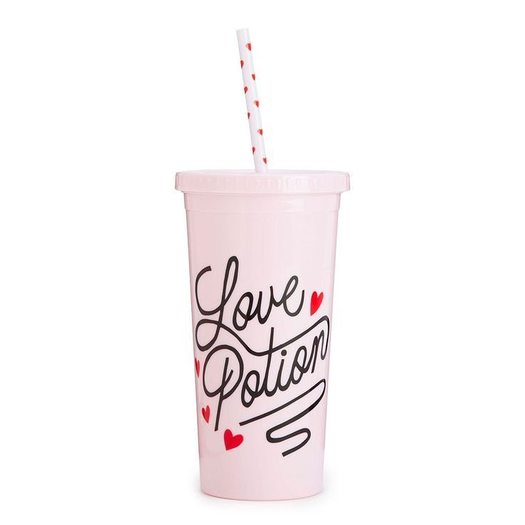 blush pink sip sip tumbler with red polka dot straw - love potion