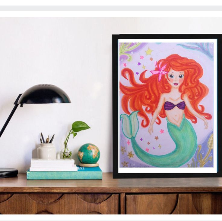 Mermaid prints, Mermaid wallart. Lovely print of a Mermaid, for a girls nursery or room.  All illustrations are handmade by me so you have a Really special piece in your room! For more Unique art, visit LumisaDesign