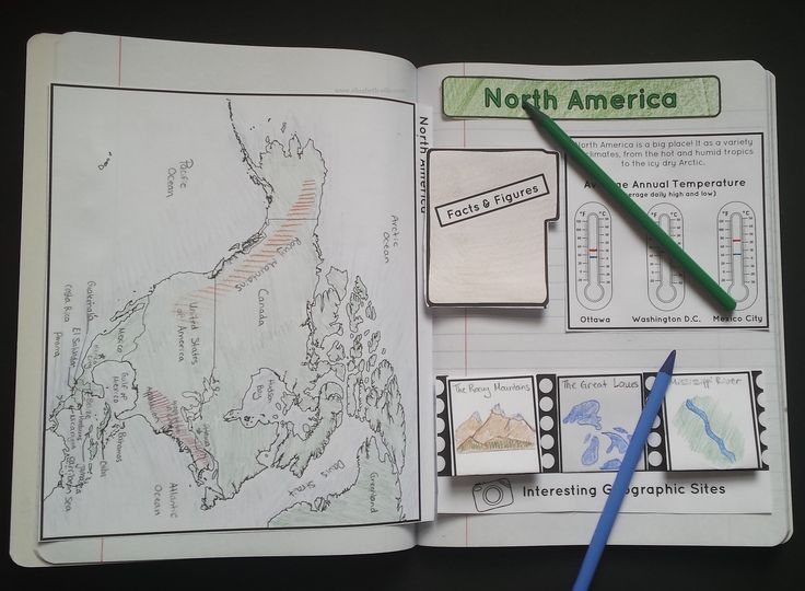 North America Interactive Note: map labelling activity, important geographic sites, average annual high and low temperatures, and facts and figures. #geography #northamerica #continents
