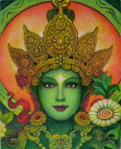 Tara verte spirituelle art Méditation Bouddha par HalstenbergStudio