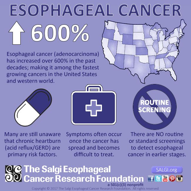 While esophageal cancer has become one of the fastest growing and deadliest cancers in the United States and western world, knowledge is power!! Learn the facts about esophageal cancer and share our infographics! Help us educate as many people as possible about esophageal cancer risk factors, symptoms, statistics and how to get involved with The Salgi Esophageal Cancer Foundation to make a difference! - To view our full infographic visit: SALGI.org/april - #EsophagealCancerAwareness…