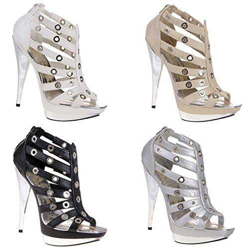 Damen Schuhe PUMPS SANDALETTEN HIGH HEELS PLATEAU Schwarz 37