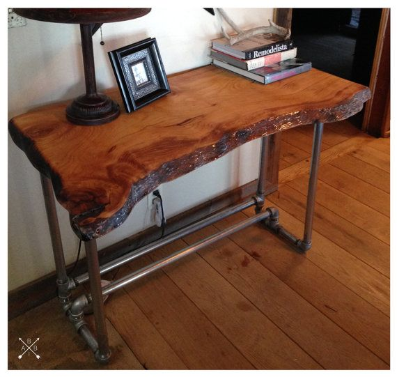 Wood Desk Ideas ~ Live edge wood slab desk industrial smooth and awesome