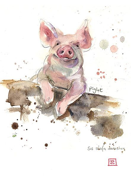 Piglet by Jane Crowther. Design for Bug Art greeting cards.