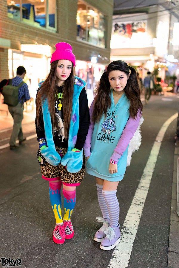 Harajuku Sisters w/ Tiger Backpacks, Toxic Cupcakes Neon Creepers - Tokyo Fashion News