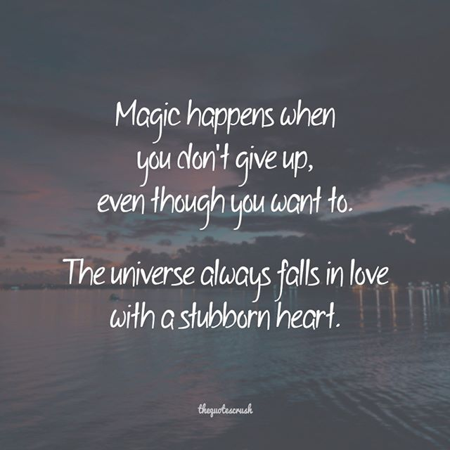 Magic Happens When You Don T Give Up Even Though You Want To The